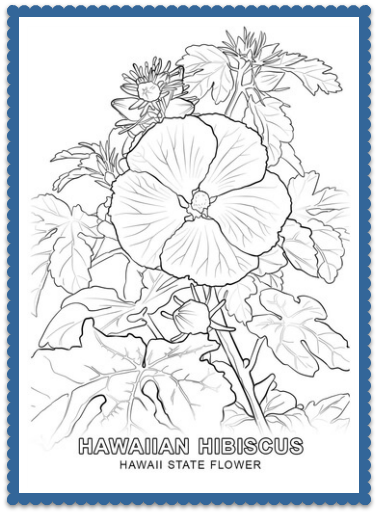 aloha poster with flower coloring page | Hawaiian crafts, Hawaii ... | 514x378